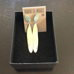 Robert Lee Morris Turquoise Silver Drop Earrings